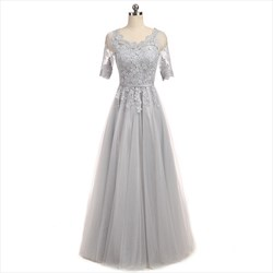 gray floor length half sleeve tulle prom dresses with lace bodice