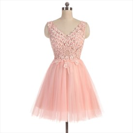Pearl Pink V Neck Beaded Bodice Lace Knee Length Homecoming Dress