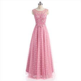 Pink Lace Cap Sleeve Illusion Neckline Prom Dress With Floral Applique