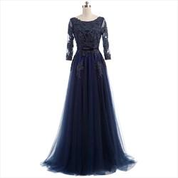 Dark Navy Backless Illusion Long Sleeve Beaded Bodice Prom Dress