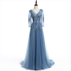 Light Blue V Neck Illusion Long Sleeve Dress With Floral Applique