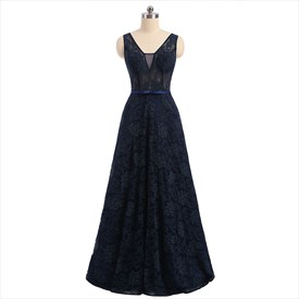 Simple Dark Navy Sleeveless V Back Lace Floor Length Prom Dress