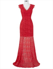 Red Lace Capped Sleeve V Neck Floor Length Prom Dress With Train