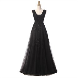 Tulle Cap Sleeve Square Neckline Floor Length Dress With Lace Applique