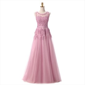 Tulle Sleeveless Beaded Floor Length Prom Dress With Lace Applique