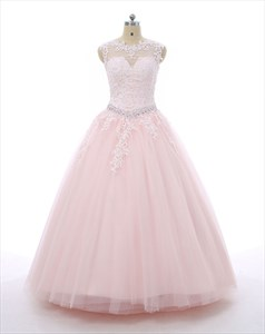 Pink Cap Sleeve Lace Bodice Ball Gown Prom Dress With Beaded Waist
