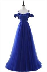 Royal Blue Off The Shoulder V Back Beaded Tulle Prom Dresses