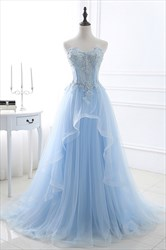 Aqua Blue Illusion Lace Beaded Bodice Tulle Prom Dress With Train