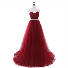 Burgundy Tulle Floor Length Prom Dress With Crystal Beaded Waist