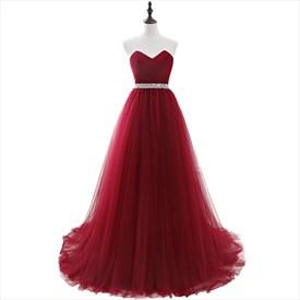Burgundy Tulle Floor Length Prom Dress With Crystal Beaded Waist