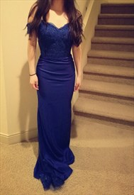Royal Blue Sleeveless Lace Bodice Sheath Off The Shoulder Mermaid Dress