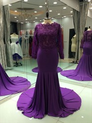Violet Illusion Lace Bodice Chiffon Mermaid Prom Dresses With Train