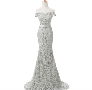 Gray Lace Off The Shoulder Sheath Mermaid Prom Dress With Train