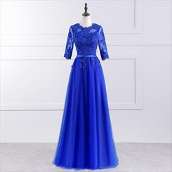 Royal Blue 3/4 Length Sleeve A Line Prom Dress With Lace Bodice
