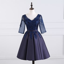 Navy Blue V Neck Illusion Half Sleeve Satin Homecoming Dress