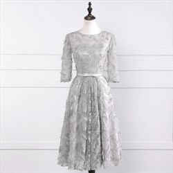 Gray Knee Length 3/4 Length Sleeve Homecoming Dress With Feather