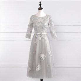 Gray 3/4 Length Sleeve Tea Length Homecoming Dress With Lace Applique