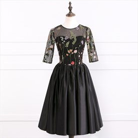 Black Satin Half Sleeve Homecoming Dress With Embroidered Bodice