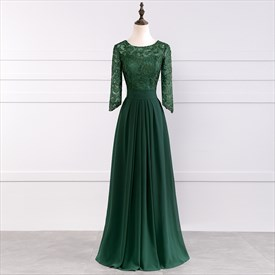 Emerald Green Illusion Lace Bodice 3/4 Length Sleeve Floor Length Dress