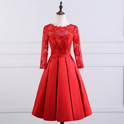 Red Illusion Lace Bodice Long Sleeve Knee Length Homecoming Dress