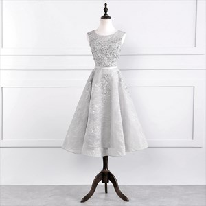 Gray Capped Sleeve Tea Length Homecoming Dresses With Floral Lace