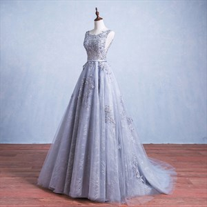Elegant Lilac Lace Lace Bodice Capped Sleeve Prom Dress With Train