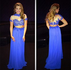 Royal Blue Illusion Lace Bodice Short Sleeve Long Chiffon Prom Dress