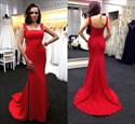 Red Sleeveless Floor Length Chiffon Mermaid Prom Dress With Train