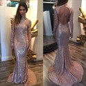 Light Purple Sequin Backless Floor Length Prom Dresses With Train