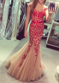 Pink Tulle V Neck Mermaid Style Prom Dress With Lace Appliques