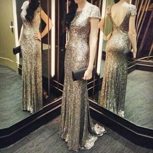 Glitter Sequin Cap Sleeve V-Back Long Sleeve Sheath Prom Dress