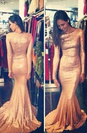 Glitter Sequin Long Sleeve Sheath Mermaid Prom Dress With Train