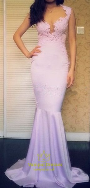 Lavender Cap Sleeve Floor Length Mermaid Prom Dress With Lace Appliques