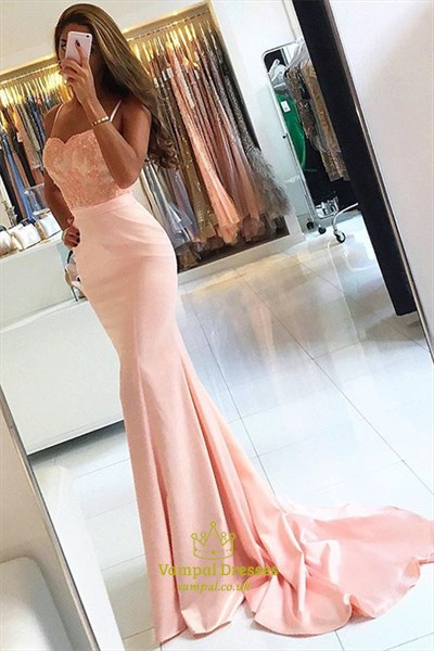 Pearl Pink Floor Length Mermaid Prom Dress With Beaded Bodice