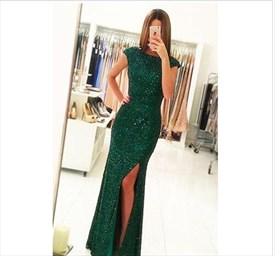 Emerald Green Cap Sleeve Beaded Bodice Prom Dress With Split