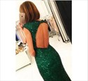 Emerald Green Cap Sleeve Beaded Bodice Prom Dress With Split