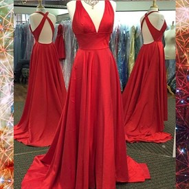 Red Satin Sleeveless Long Floor Length Prom Dress With Cross Back