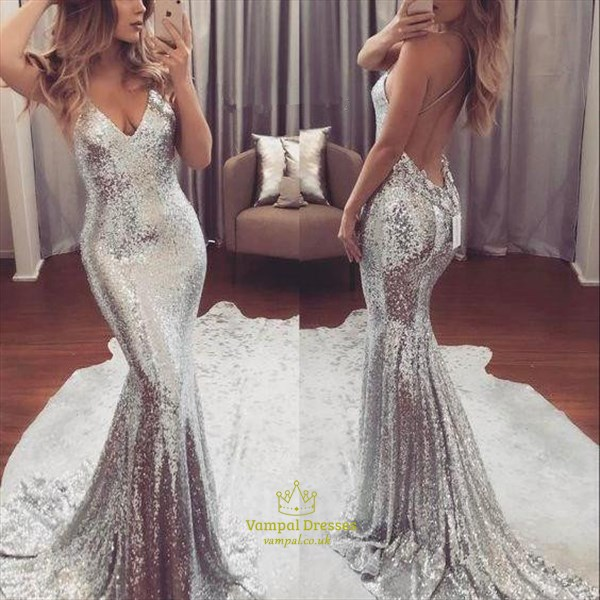 Sparkly Silver V Neck Sleeveless Sequin Mermaid Dress With Train