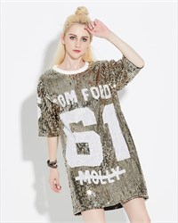 Loose Fashionable Sequin Three Quarter Length Sleeve Shirts