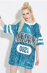 Sexy Sequin Off The Shoulder Shirt Dress With 3/4 Length Sleeve