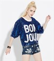 Women's Sparkly Loose Fashionable Half Sleeve Sequin Shirts