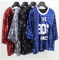 Women's Black Half Sleeve Loose Fashionable Sequin Shirts