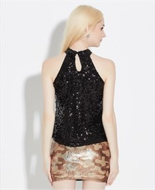 Women's Simple Short Sleeveless Sequin Top With Keyhole