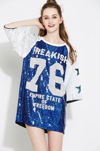 Loose Fashionable 3/4 Length Sleeve Sequin Shirt Dress
