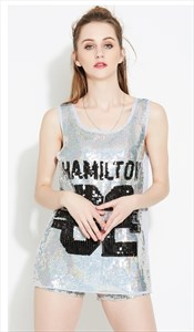 Fashionable Silver Sleeveless Sequin Shirt Dress