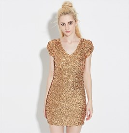 Short Sleeve V-Neck Short Bodycon Sequin Dress With Open Back