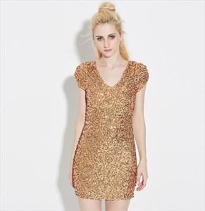 Short Sleeve V-Neck Short Bodycon Sequin Dress With Open Back