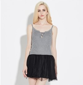 Lovely Sleeveless Short Sheath Knitting Top Tulle Dress