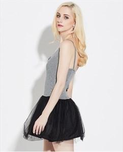 Lovely Sleeveless Short Sheath Knitting Top Tulle Dress