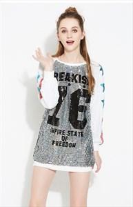 Fashionable Cute Long-Sleeve Sequin Shirt Dress